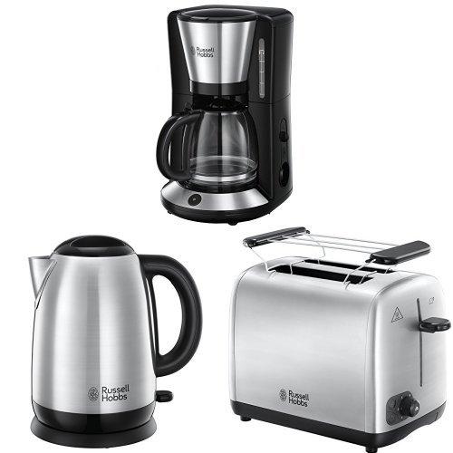 Russell Hobbs Frühstücksset Adventure Glas-Kaffeemaschine  Wasserkocher  Toaster