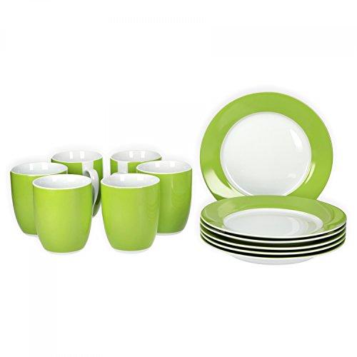 Van Well Frühstücksset 12-TLG für 6 Personen Serie Vario Porzellan - Farbe wählbar Farbegrün