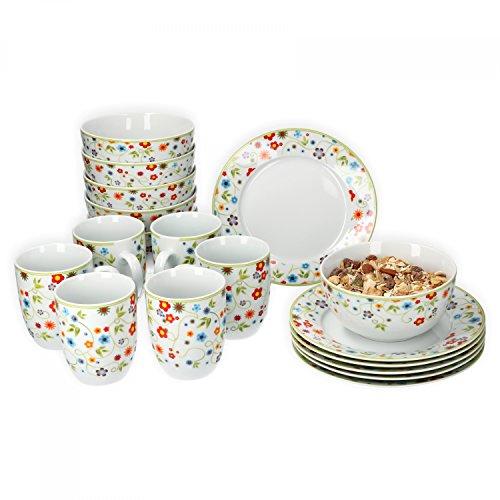 Van Well Frühstücksset 18-tlg für 6 Personen Serie Vario Porzellan - Farbe wählbar Farbeflowers