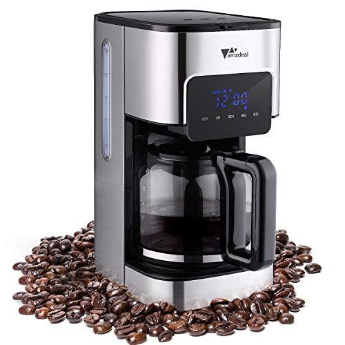 Amzdeal Kaffeemaschine - Filterkaffeemaschine Mit Timer Warmhaltefunktion Und Anti-Drip-Funktion Warmhalteplatte Abschaltautomatik LED-Anzeige 1-12 Tassen Edelstahl