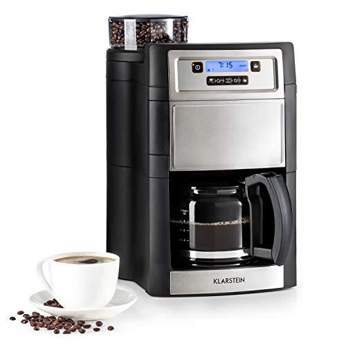 Klarstein Aromatica II Kaffeemaschine mit Mahlwerk • Filter-Kaffeemaschine • 1000 Watt • 125 Liter Glaskanne • 24-Stunden-Timer • Warmhalteplatte • inkl Permanent- und Aktivkohle Filter • silber