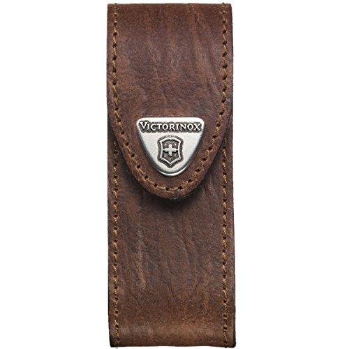 Victorinox Leder-Etui für Taschenmesser Gürtelschlaufe Klettverschluss Braun 3cm x 10cm Braun
