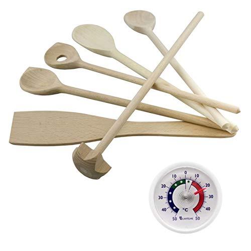 Lantelme KüchenKochhelfer Holz Set 7 tlg Mit Kochlöffel Quirl Pfannenwender und Kunststoff Thermometer Analog