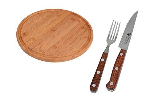 GRÄWE Steak- Pizzabesteck Messer und Gabel  Schneidbrett aus Bambus