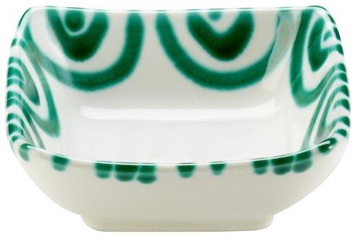 Gmundner Keramik Manufaktur 0100SAQU09 grüngeflammt Schälchen quadratisch 9 x 9 cm