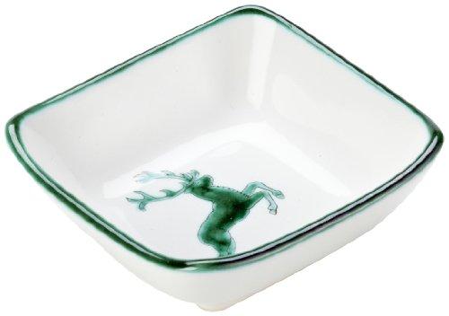 Gmundner Keramik Manufaktur 0324SAQU09 grüner hirsch Schälchen quadratisch 9 x 9 cm