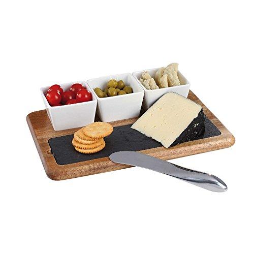 Käse-Set Käsebrett 4 tlg Edelstahl Käsemesser Schneidbrett Holz Brett Servier-Brett Käseplatte 3 Keramik-Schälchen Aperitif