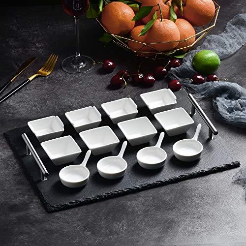 MALACASA Serie NatureSlate Schiefer Platte mit 12 Keramik Dessertschale Schiefer Käse Platten Dessert Snack Vorspeise Appetizer Keramik Schälchen Set