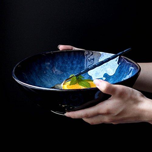 Japanischen Stil Blau Keramik Geschirr Kreative Ramen Schüssel Große Suppenschüssel Obst Salatschüssel  größe  S