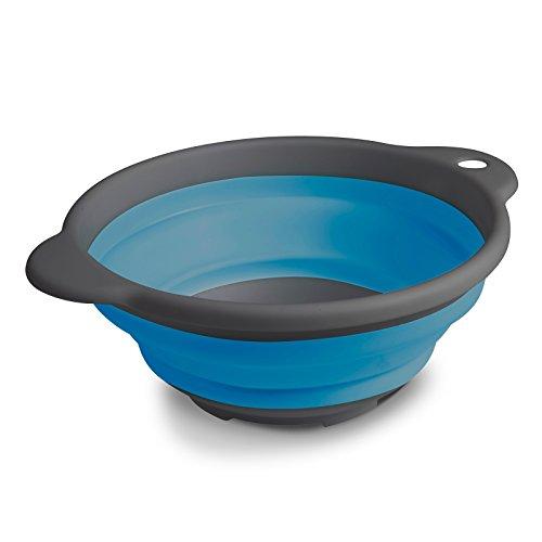 Siehe Beschreibung Leichte faltbare Schüssel in blau mit Griffen aus umweltverträglichem TPR • Faltschüssel Rührschüssel Salatschüssel Servierschüssel faltbar Camping