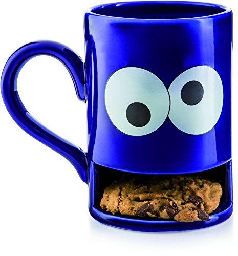 Donkey Products - Mug Monster Keks-Becher  Lustige blaue Tasse mit praktischem Keksfach für krümelnde Monster