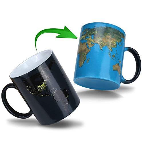 Doublewhale Magische Kaffeetasse ErdeTasse Thermoeffekt Weltkarte Geschenk Fuer Maenner Papa Geschenkideen Lustige Kaffeetassen 12Oz350ml Keramik Becher Tassen Geschenke für MännerMann