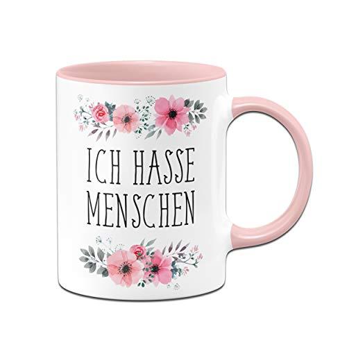 Ich Hasse Menschen Tasse - Kaffeetasse rosa blumig - Lustige Tasse