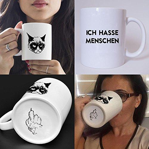 Lustig bedruckte Tasse mit Katzenmotiv und SpruchIch hasse Menschen Die perfekte Kaffeetasse für Katzenliebhaber Männer Frauen Kollegen perfekt zum Frühstück oder in der Kaffeepause