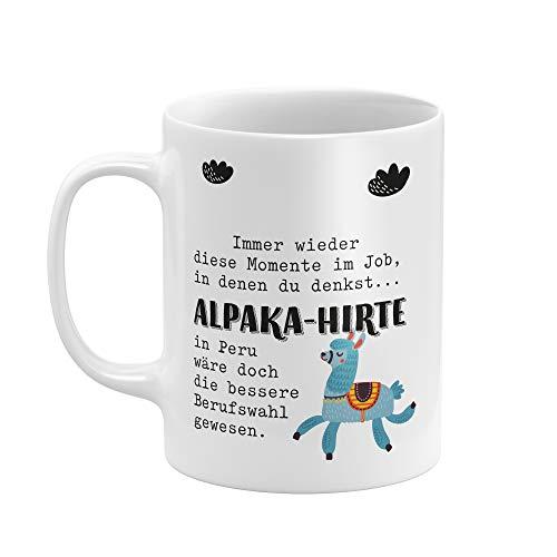 Tasse von THEGOODVIBES - tolle und lustige Tasse mit Spruch -ALPAKA-HIRTE - Hochwertiger Druck Qualitätsporzellan - weiß glanz