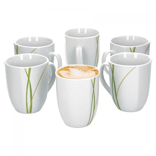Van Well Bali 6er Set Kaffeebecher 330 ml H 103 cm Kaffeetasse Liniendekor edles Marken-Porzellan