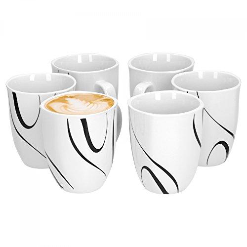 Van Well Galaxy 6er Set Kaffeebecher 330 ml H 103 cm Kaffeetasse Liniendekor edles Marken-Porzellan