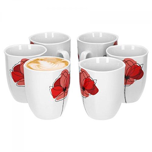 Van Well Monika 6er Set Kaffeebecher 330 ml H 103 cm Kaffeetasse Blumendekor edles Marken-Porzellan
