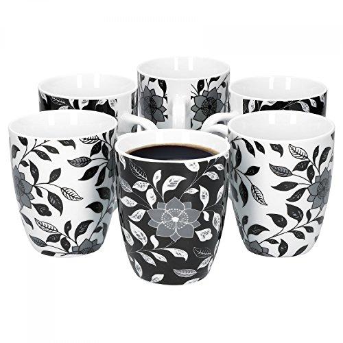 Van Well Porzellan 6er Geschirr-Set Serie Flowers Schwarz Weiß  weißes schwarzes Blumendekor  Artikel wählbar Serie FlowersKaffeebecher 275ml