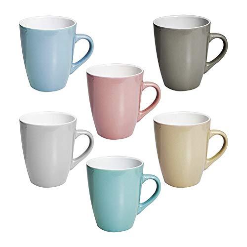 esto24 6 XL Kaffeebecher Set Keramik 380ml in 6 schönen Pastell Farben für Ihr liebstes Heißgetränk für Kaffee Cappuccino und Latte Macchiato