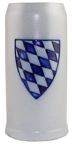 Bavariashop Bierkrug Bayernschild 05 l Füllmenge Präge Dekor Salzglasiert Schlanke Form Steinkrug Keferloher Grau