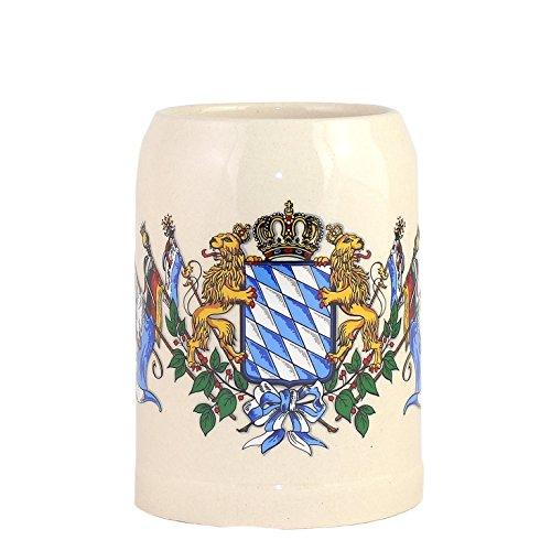Bavariashop Steinkrug Bayern Bayrisches Wappen Rautenmuster Löwen Bierkrug Weiß 05 Liter