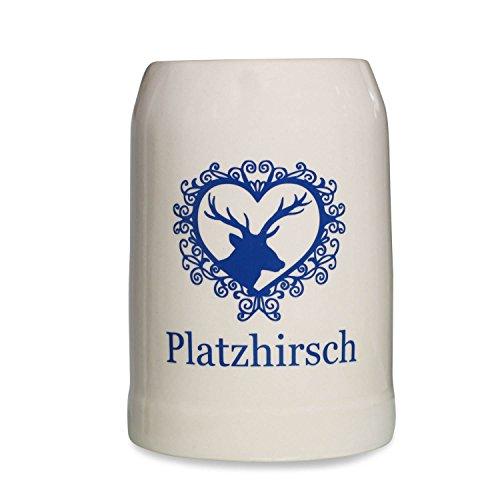 Geschenkbox Alpenländischer Steinkrug in Moderner Optik mit Aufschrift Platzhirsch blau Steingut 05l