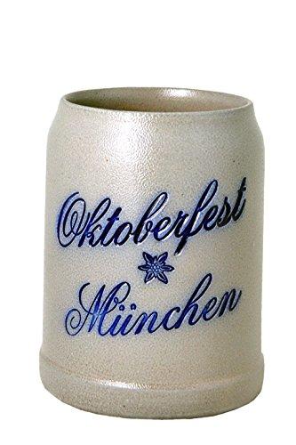 Steinkrug Oktoberfest München salzglasiert - 05 Liter Sammelkrug Bierkrug Wiesnkrug