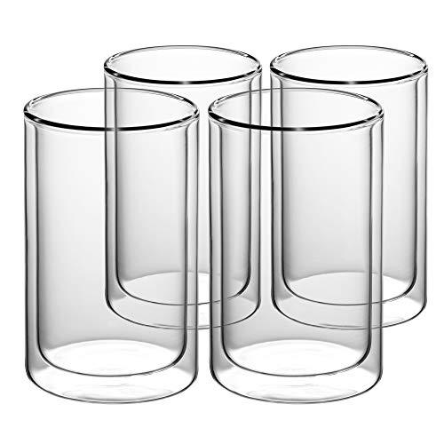 GAIWAN Doppelwandige Tee Gläser 4er Set I Schlichte Trinkgläser für Tee oder Latte Macchiato I Thermobecher spülmaschinenfest ICEGOLD330-T I 033l