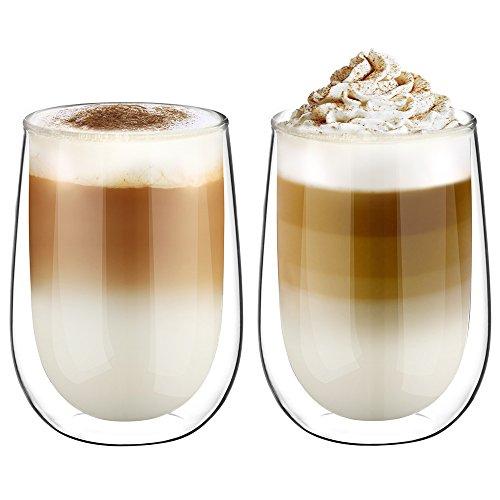 Glastal Doppelwandige Latte Macchiato Glaser Set Thermoglas Kaffeeglas Trinkgläser 2-teiliges 350ml Volle Kapazität