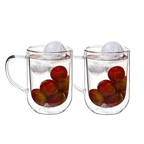 MuciHom Doppelwandige Thermo-Gläser mit Henkel Glas Packung mit 2 Kaffeegläser Teegläser Latte Macchiato-Glas Latte Macchiato Glas Auch als Cocktail Oder Teeglas Verwendbar