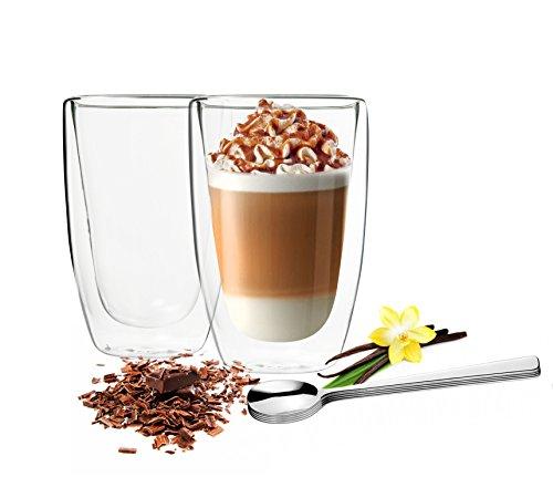 Sendez 2 Doppelwandige Latte Macchiato Gläser 450ml mit 2 Edelstahl-Löffel Kaffeegläser