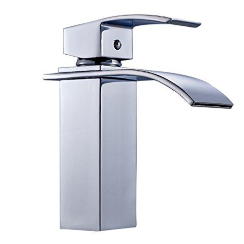 Auralum Wasserhahn für Waschbecken Wasserfall Wasserhahn Küche und Bad cromo-plateada Messing