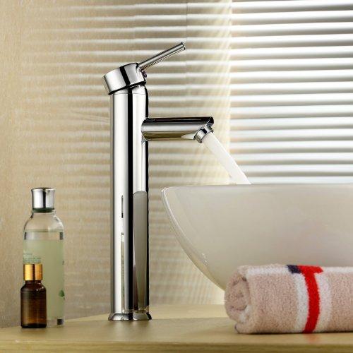 Inchant Moderne Einhand-Waschtischmischer Taps Hoch Waschtisch im Bad-Behälter-Wannen-Hahn-einzelnes Loch-Waschraum Toilette-Chrom-Messing-Mischer-Hahn Deck Berg