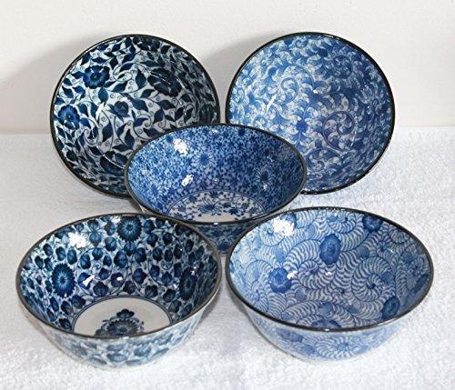AAF Nommel Matcha - Reisschalen 5-er Set Japan Porzellan blau Weiss Blumen Nr 070