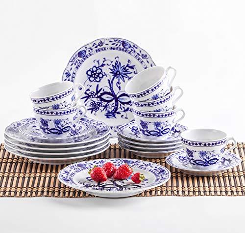 Kahla 170290M72067U Zwiebelmuster Kaffeeservice für 6 Personen Tee Geschirr Porzellan 18-teilig weiß blau Kuchenteller Tasse Untertasse Komplettset Frühstück