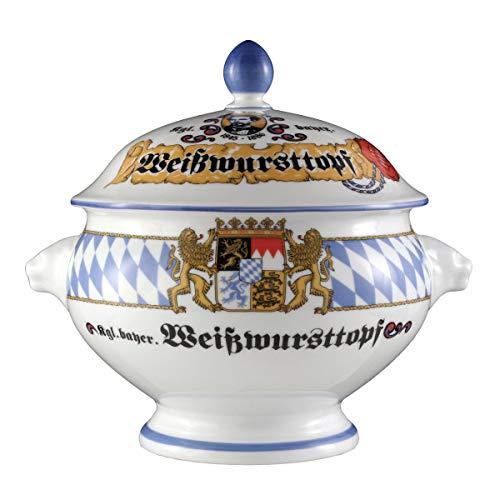 Seltmann Weiden Compact Bayern Löwenkopfterrine mit Deckel 21 L Porzellan BlauWeißGelbRot 238 x 194 x 21 cm