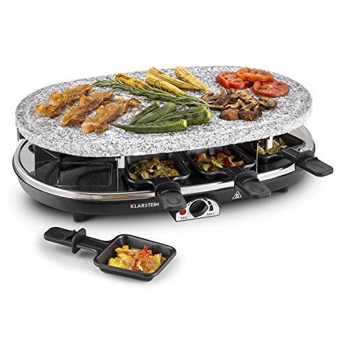 Klarstein Steaklette Raclette-Grill • Tischgrill • Partygrill • Leistung 1500 Watt • stufenlos regulierbare Temperatur • Natursteinplatte aus Granit • inkl 8 Pfännchen • schwarz-Silber