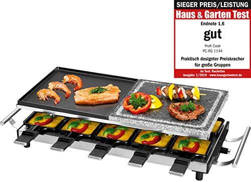 Profi Cook PC-RG 1144 RacletteTischgrill mit Naturgrillstein und Wendegussplatte 10 Pfännchen 10 Holzspatel 1700 W