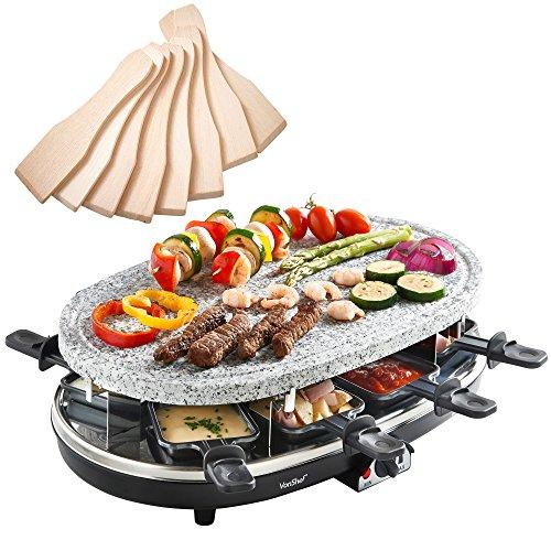 VonShef Raclette Grill aus Naturstein für 8 Personen - mit flexibler Temperaturregelung 8 Pfännchen 8 Racletteschiebern