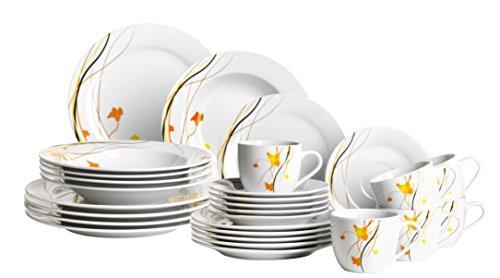 Mäser Serie Akadien Kombiservice 30-teilig Porzellan Geschirrset für 6 Personen