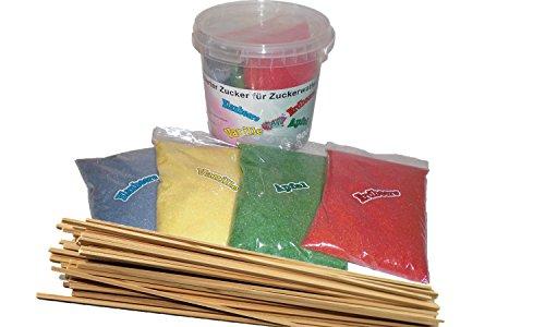 4 x 200 g Aromazucker  50 Zuckerwattestäbe für Zuckerwattemaschinen Zuckerwatte