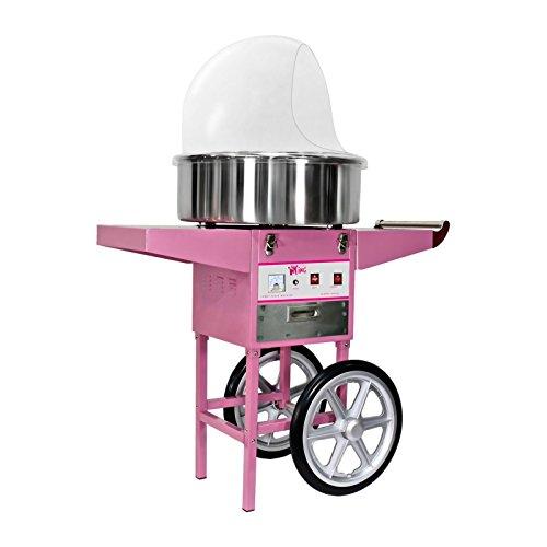 Royal Catering RCZC-1200E Zuckerwattemaschine Cotton Candy Machine mit Wagen und Spuckschutz Ø 52 cm 1200 W 1 Einheit  60 s inkl Zubehör Pink