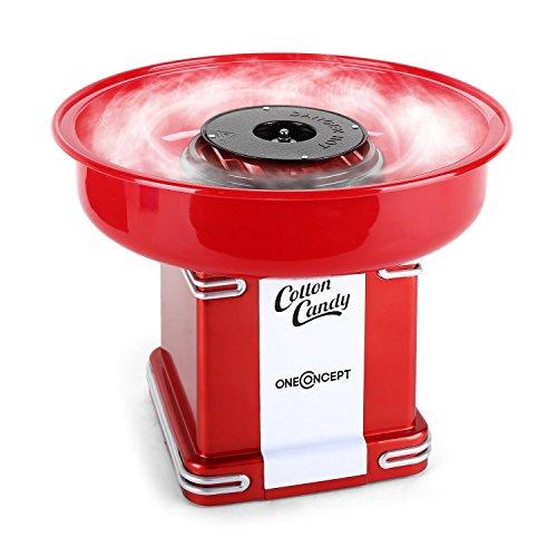 oneConcept Candyland • Retro-Zuckerwattemaschine • Zuckerwatte-Automat • 500 Watt Heizleistung • Auffangbehälter • 31 cm Ø • Auffangbehälter-Höhe 7 cm • Zuckerwattestab • rot