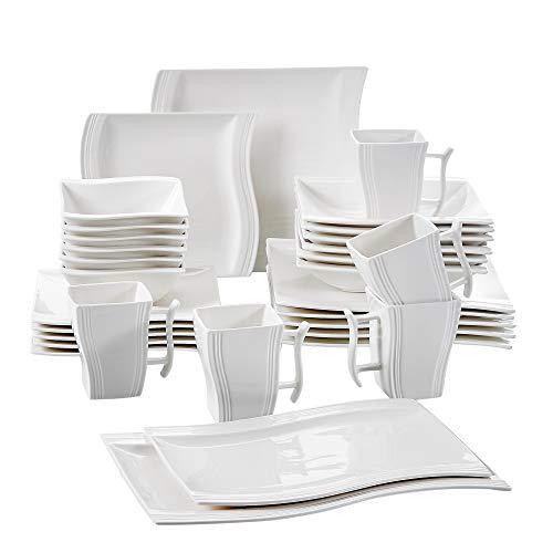 MALACASA Serie Flora 32 TLG Cremeweiß Porzellan Geschirrset Kombiservice Tafelservice mit je 6 Schalen 6 Dessertteller 6 Suppenteller 6 Speiseteller 2 Rechteckigen Platten und 6 Becher