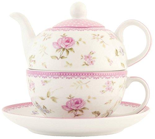 Clayre Eef ERTEFO Teekanne Kanne mit Tasse weiß mit Rosen Deko