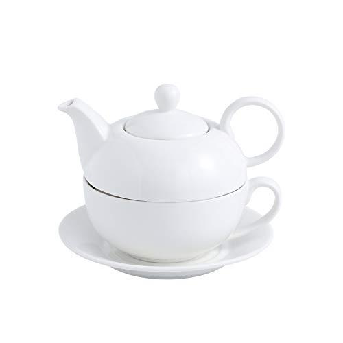 MALACASA Serie SweetTime Porzellan Teeservice Teeset 4 teilig Set Teekanne mit Tasse und Untersetzer Teekannen Kaffekannen