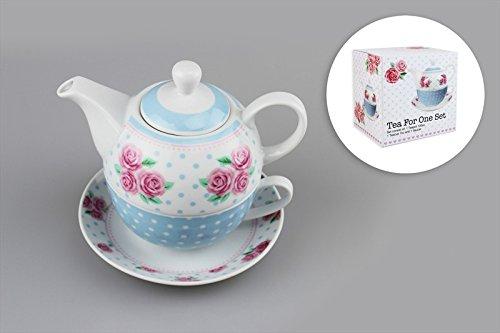 Pastellfarben Blumenmuster Polka Punktmuster Tee für eine Person Teekanne Kanne Tasse und Untertasse Servier-Set