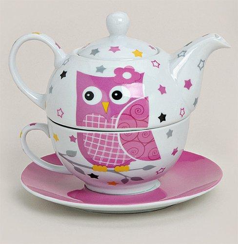 Tea for one Set 3-teilig Porzellan Teekanne mit Tasse und Untertasse in Geschenkbox Rosa