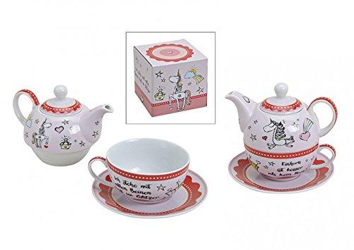 Teekannen 3er SetTeeservice Motiv Einhorn aus Porzellan Bunt Teekanne mit Tasse aus Porzellan
